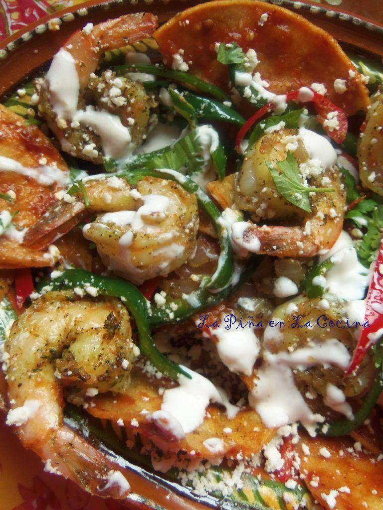 Chilaquiles rojos con camaron shrimp chilaquiles