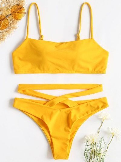 a7584639e6f Spaghetti Strap Criss Cross Bikini - Rubber Ducky Yellow  swimsuits