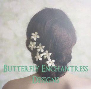 Rustic Wedding Headpiece, Wedding Hair Accessories, Bridal Hair Flowers - 6 Harper Jasmine Hair Pins - White or Ivory - Pearl Center