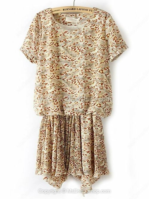 Beige Short Sleeve Floral Pleated Chiffon Dress for HPL -$30.69