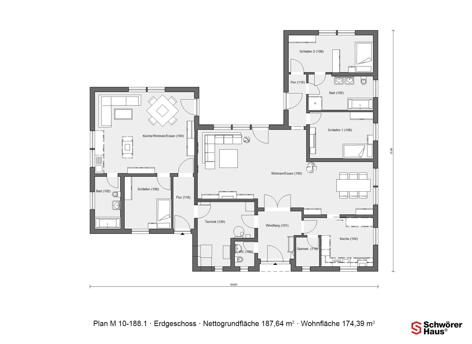 Bungalow In U Form Grundriss Erdgeschoss Bungalow In U-form M 10-188.1 ...