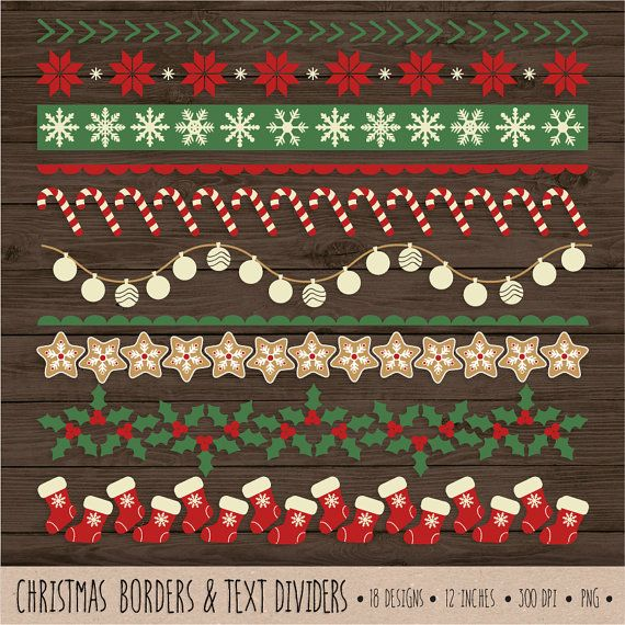 instant download christmas ribbon border and text divider set clip art set with 18 designs