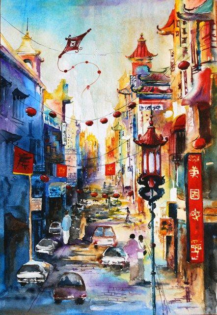 San Francisco China Town Watercolor City Sketch Bright Town