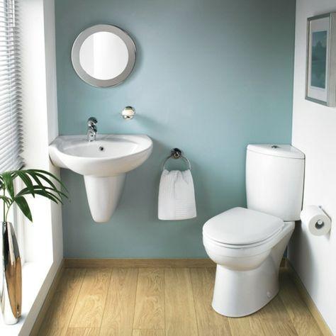 badezimmer- weiß-und-grau - mit einer grünen pflanze - 30 super Ide