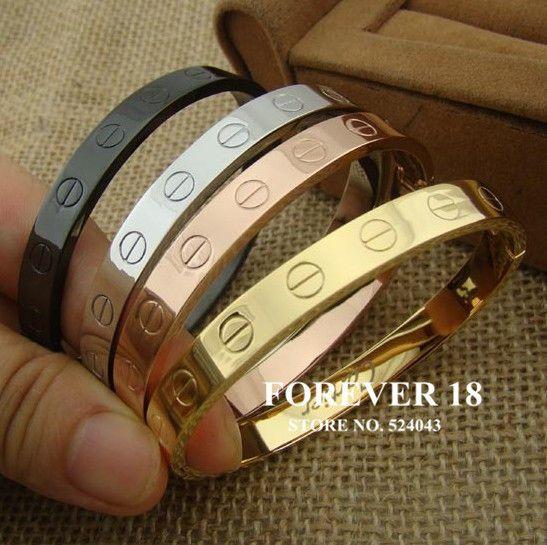 c4040c29d6e Homens e mulheres de aço titânio zircônio parafuso pulseira de titânio  pulseira love prata ouro rosa de ouro