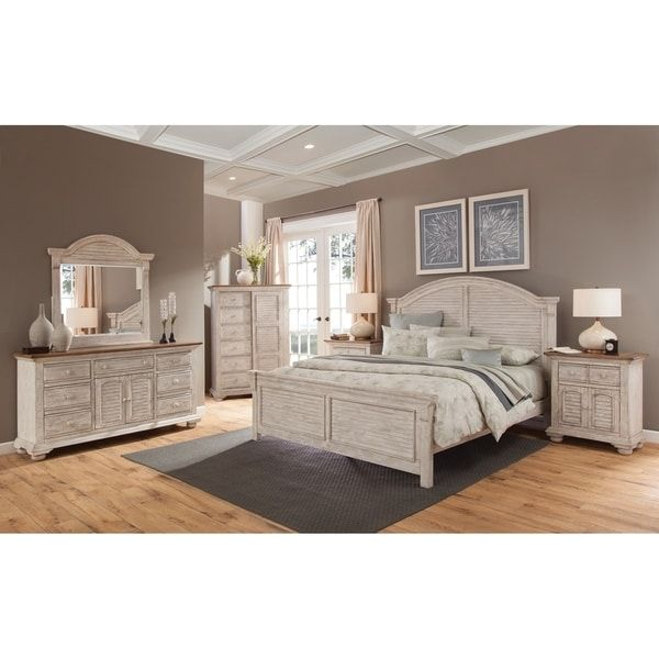 Carlyle Crackled White Arched Bedroom Set by Greyson Living ...