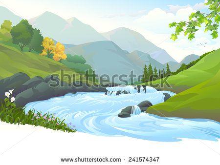 Stokovye Vektora I Vektornyj Klip Art Landscape Mountain River Meadow Take Better Photos Cool Photos Stock Photos
