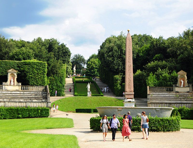 Amphitheatre Of Boboli Garden Located On The Hill Behind The Pitti Palace In Florence The Egyptian Obelisk Is Authent Florence Italy Florence Beautiful Places
