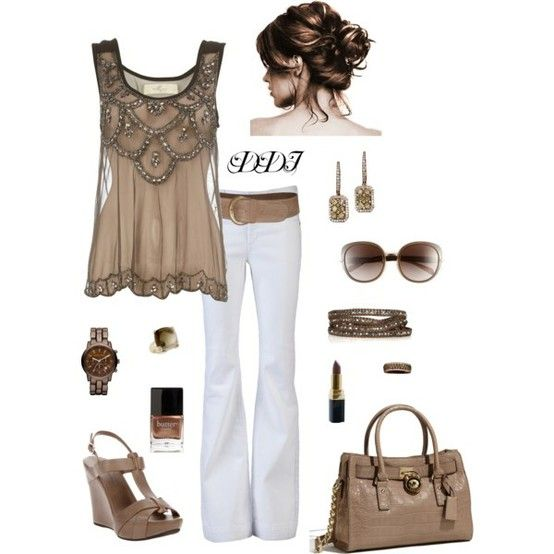 love it all... the shoes, the bag, the shirt, teh watch, the bangles, even the white pants!!