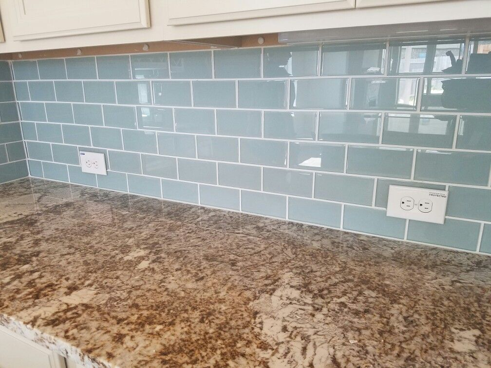 Blue Subway Glass Tile With Brown Persa Granite And Silk Cabinets