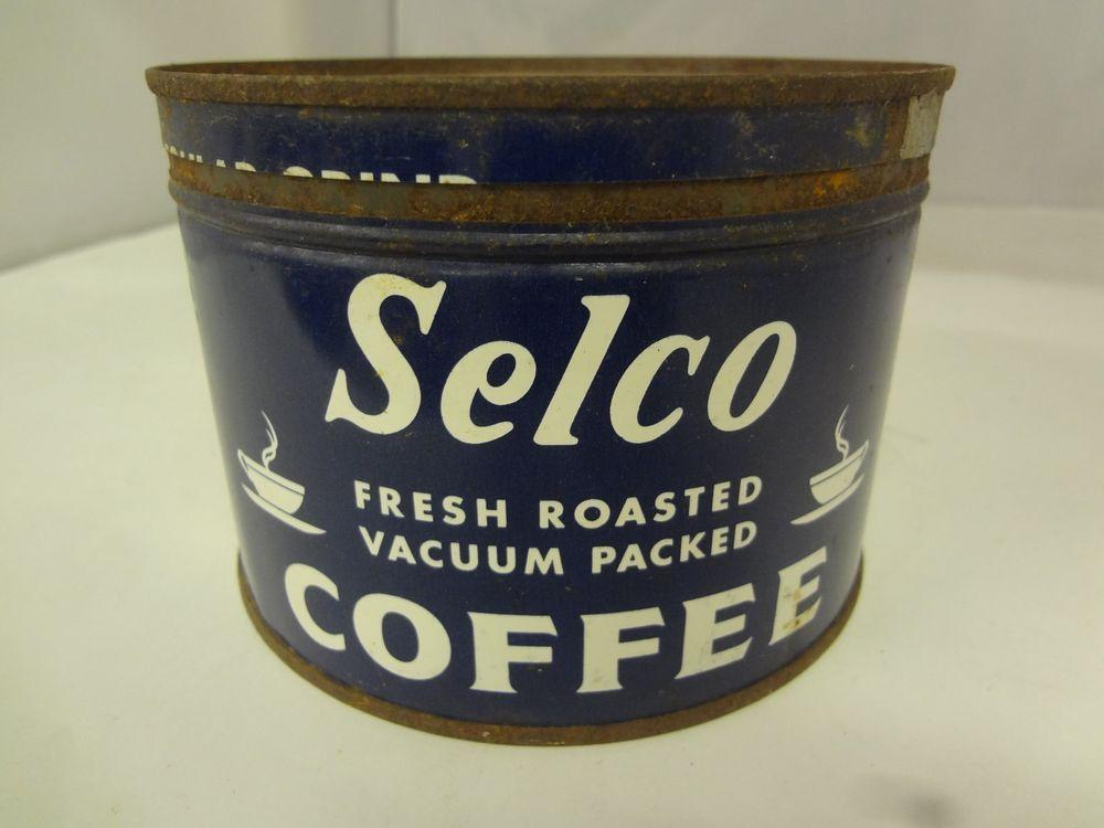 Vintage Selco Brand Coffee Tin Advertising Collectible Graphic G 164 Coffee Tin Coffee Coffee Packaging