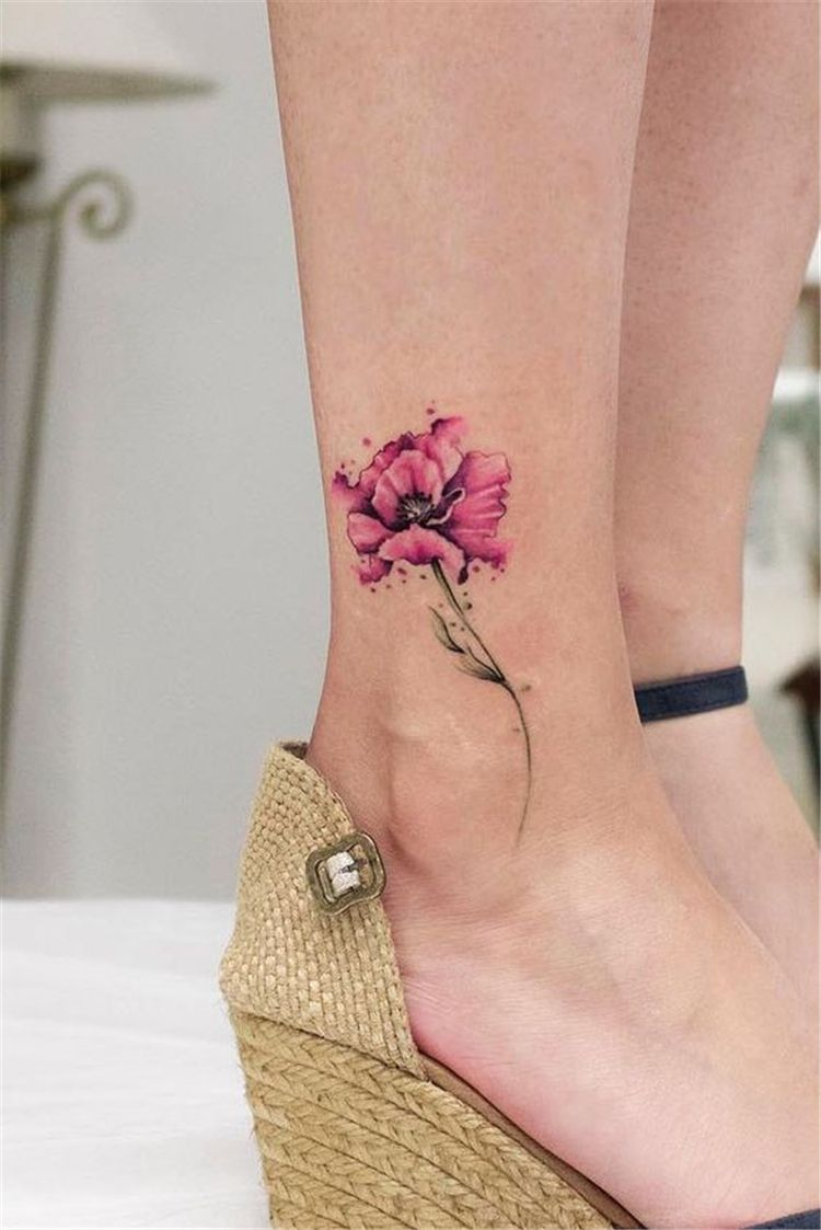 Gorgeous Ankle Flower Tattoo You Can T Miss This Summer Ankle Tattoos Ideas For Wome Small Watercolor Tattoo Watercolor Tattoo Flower Floral Watercolor Tattoo