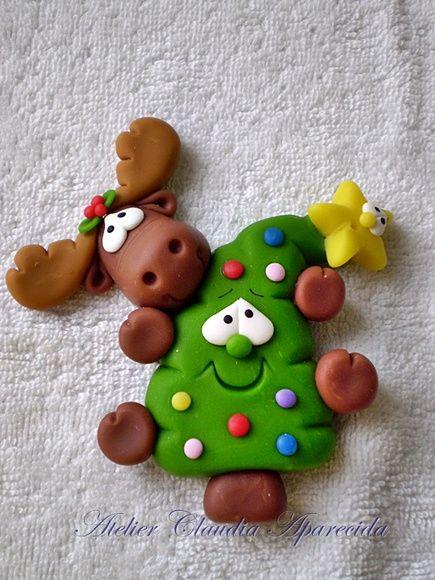 Enfeite De Torta ~ Im u00e3 ou Aplique Arvore Torta com Rena enfeites deárvore de Natal, u00cdm u00e3s de geladeira e Arvore