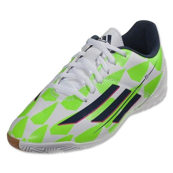 a4e95188513d adidas F5 IN Junior (Core White Rich Blue Solar Green)
