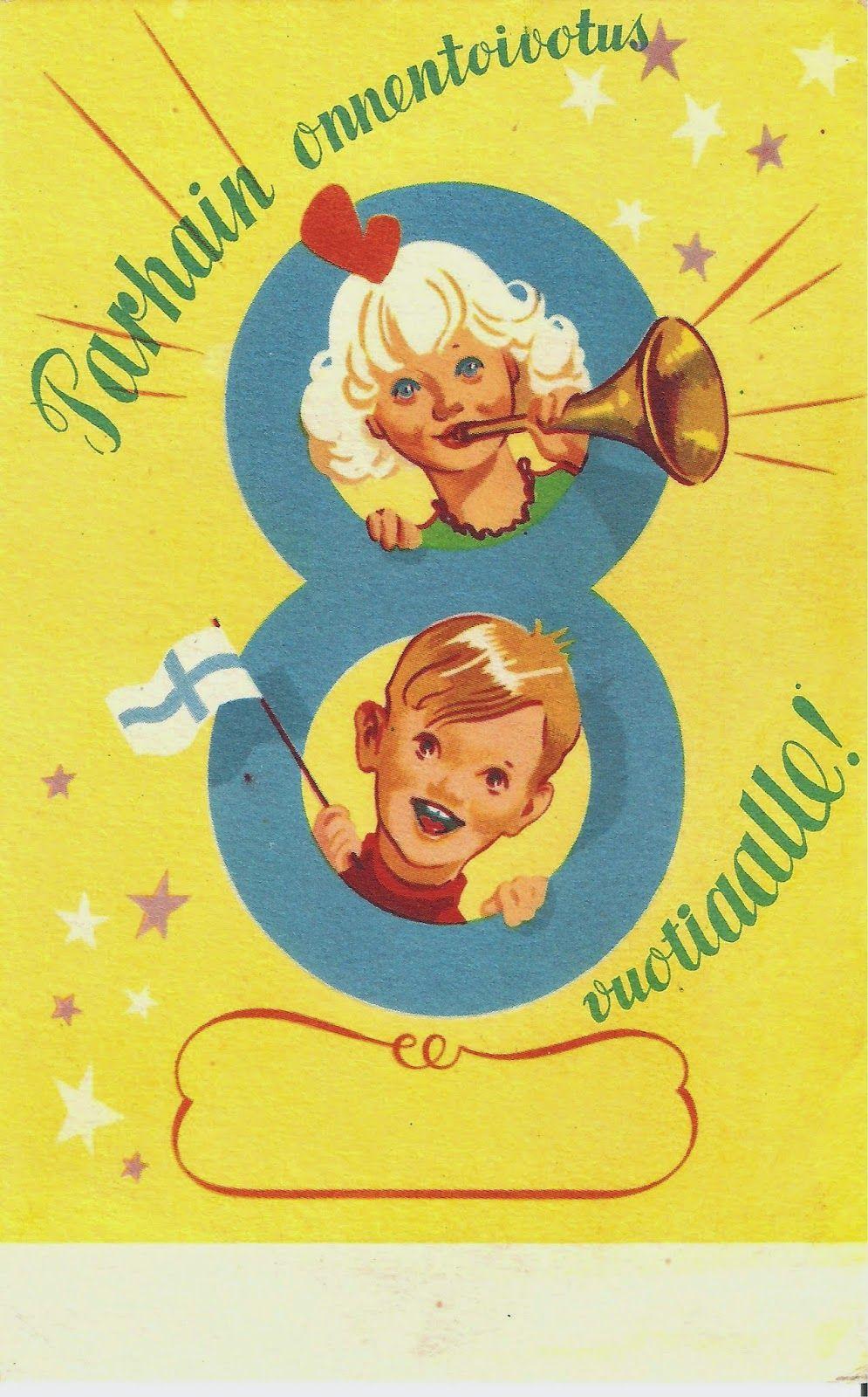 Kirjeitä myllyltäni: Vanhoja syntymäpäiväkortteja