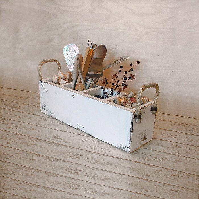 Rustic Kitchen Utensil Holder: Primitive+wooden+caddy+rustic+utensil+holder+by