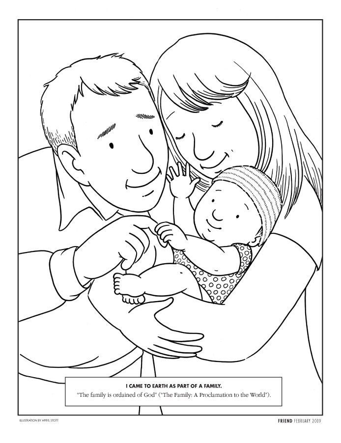Year 01 Lesson 38 Honoring Your Parents Baby Coloring Pages