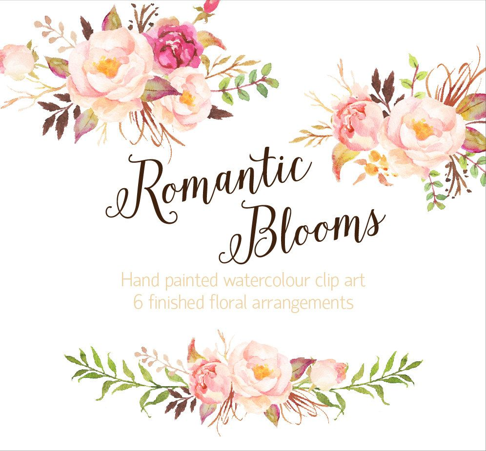 Romantic Blooms Watercolour Clip от GraphicSafari на Etsy ...