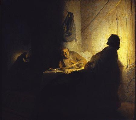 Stunning: Rembrandt, The Pilgrims at Emmaus, c. 1629, oil on paper mounted on wood, 39 cm x 42 cm (Musée Jacquemart-André, Paris, copyright Musée Jacquemart-André / Institut de France / Scala Florence).