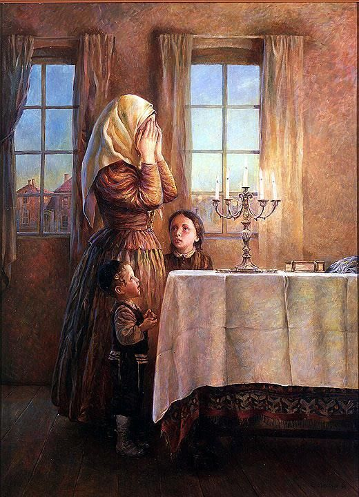 Elena Flerova – Welcoming the Shabbat II | Jewish Art Oil Painting Gallery