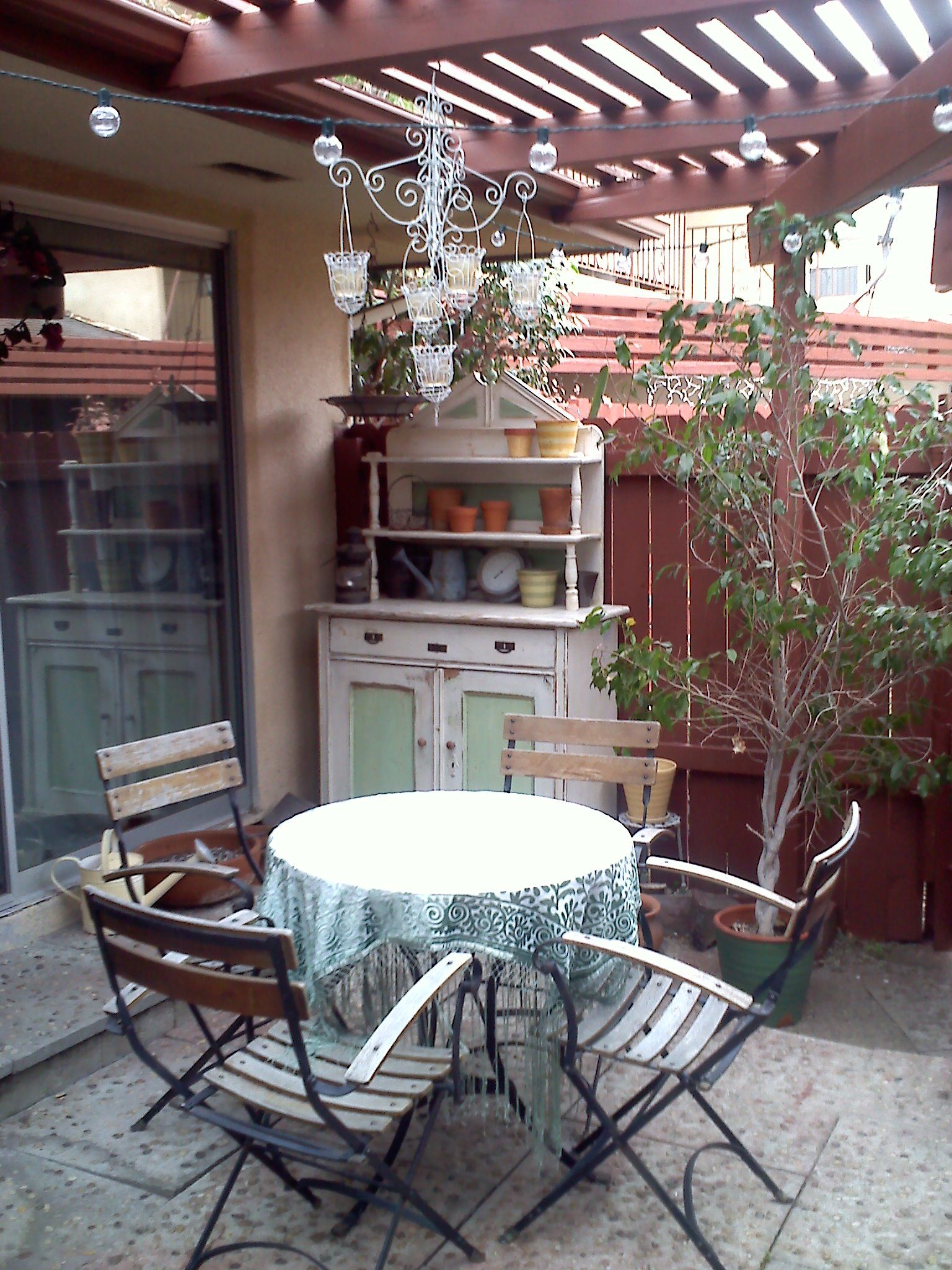 Patio table and hutch.