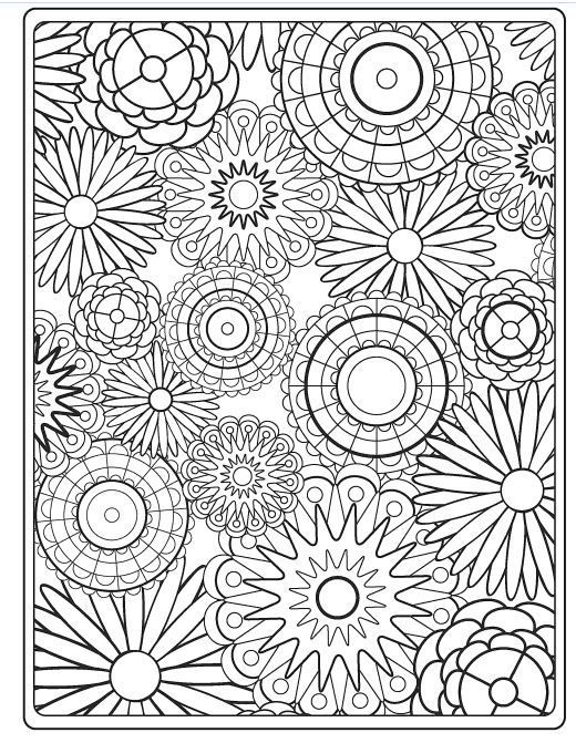 Flower coloring pages on dover publications coloring pages all - new difficult pattern coloring pages