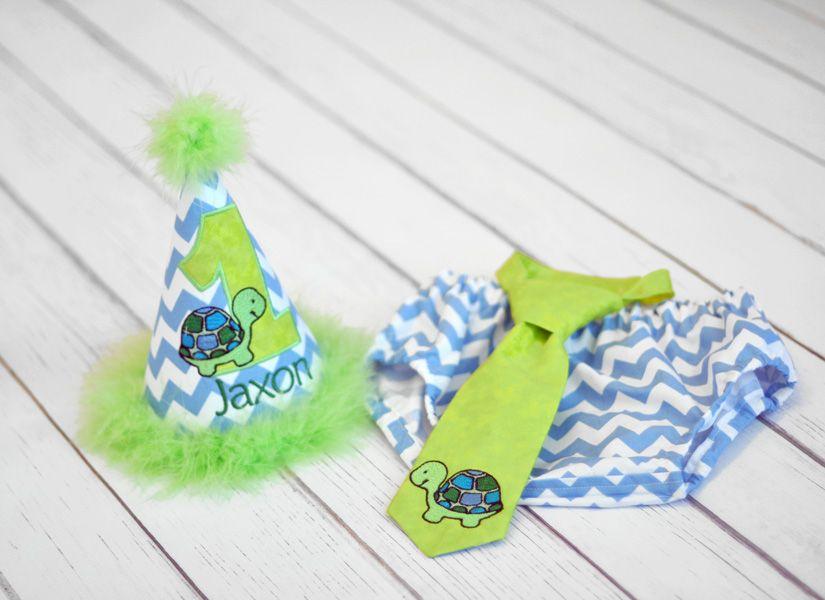 Boys Birthday Party Hat Diaper Cover Tie