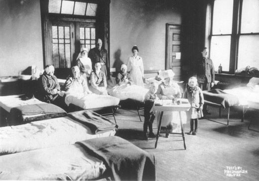 Victims of the Halifax explosion ( mostly children) recovering in the hospital.