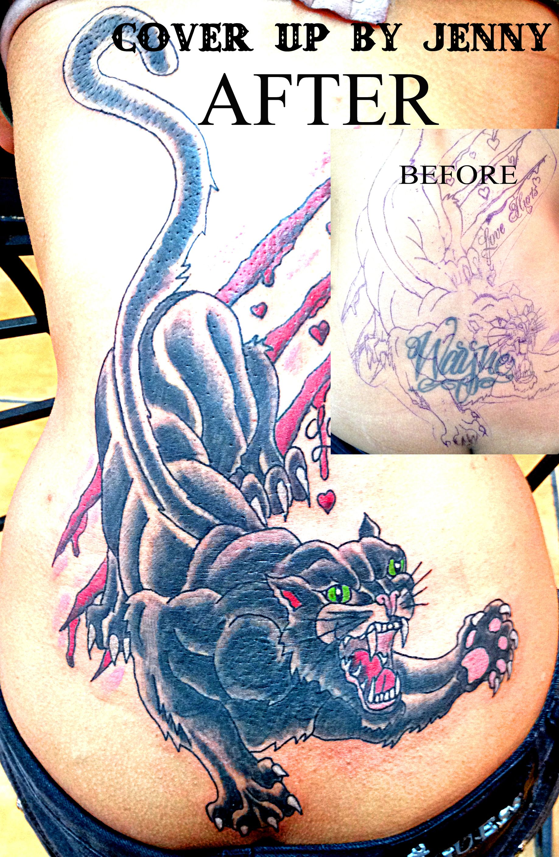 Cover up panther back tattoo by jenny forth miami up