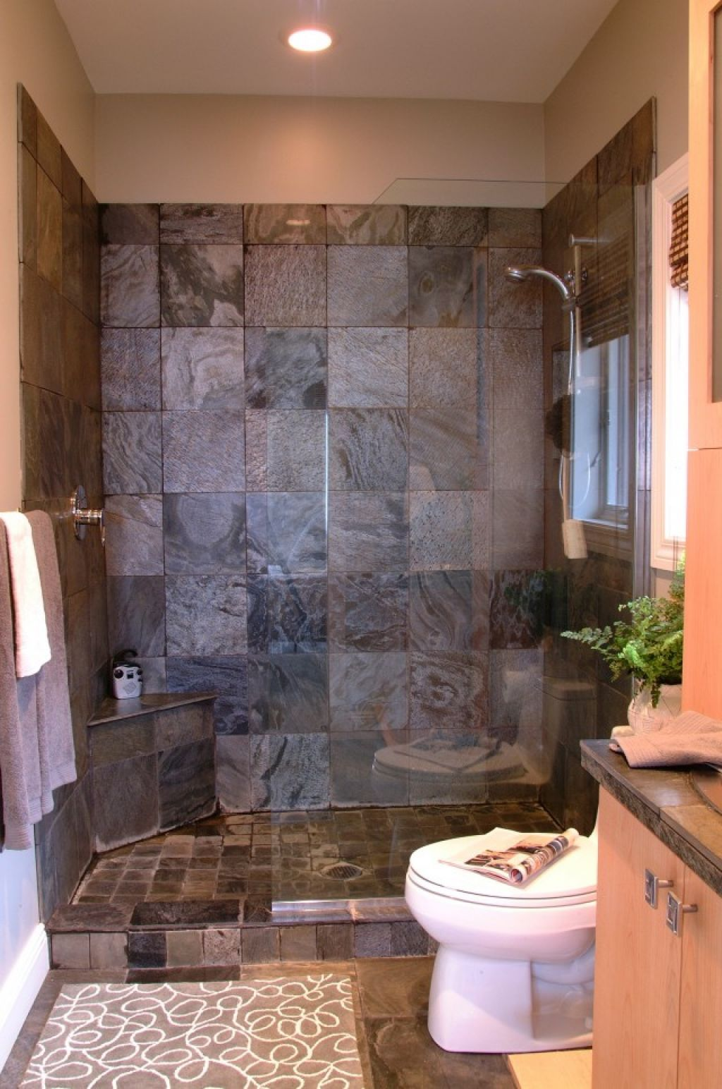 Bathroom ideas of doorless walk in shower for small - Bathroom shower designs small spaces ...