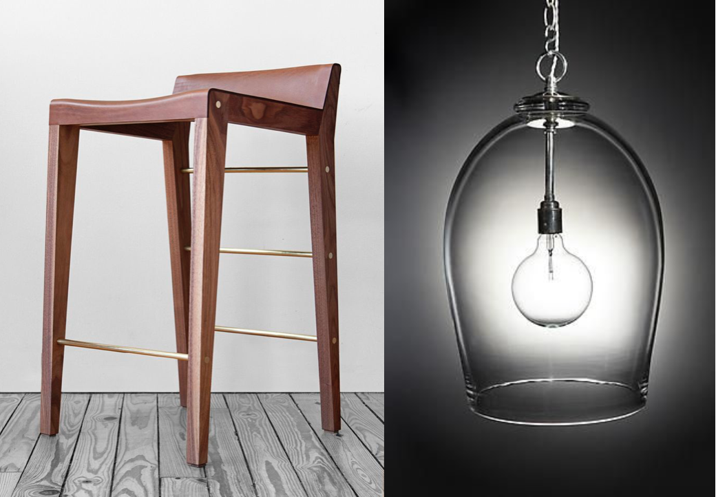 Left: Bar stools by Asher Israelow Right: Glass lantern by Rose Uniake