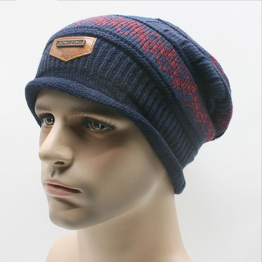 Hat Winter Men Knitting Wool Beanies Field Workout Striped Skullies Khaki  Black Navy Blue Warm Woolen Caps Mens Accessories c5368d7f7056