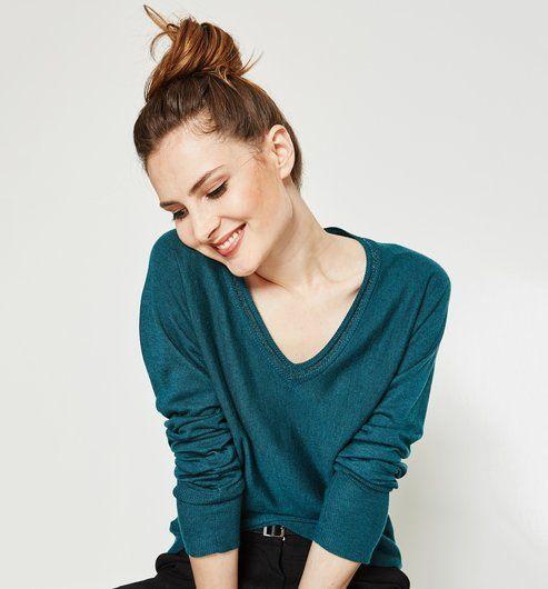 Pull fin col V Femme vert émeraude - Promod   Mode femme   Jumper ... fba7e92a2d9a