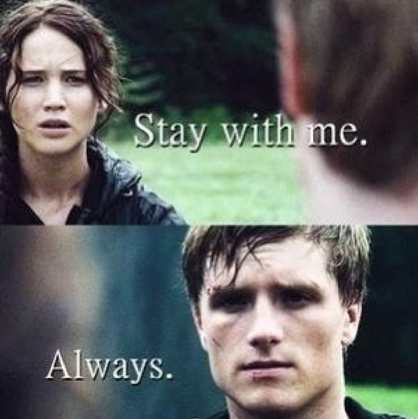 """#Mockingjay Not the kind of feels that are associated with Snape's """"Always"""" but Peeta's is good too."""