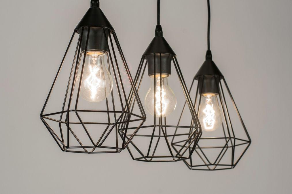 Woonkamer Verlichting Pendelarmatuur : Hanglamp 10223: modern retro metaal zwart Ⓜ @home verlichting
