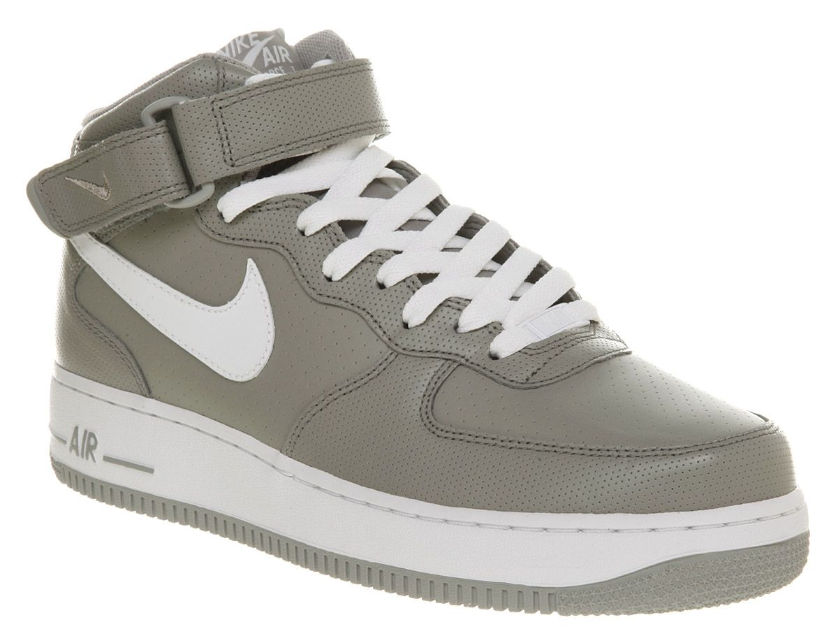 Air Force 1 Shoe | Mens Nike Air Force 1 Mid Grey/White Trainers Shoes