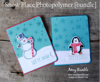 snow place photopolymer bundle, christmas cards, snowman card, penguin card