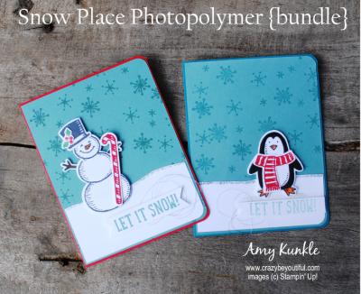 snow place photopolymer bundle, christmas cards, snowman card, penguin card