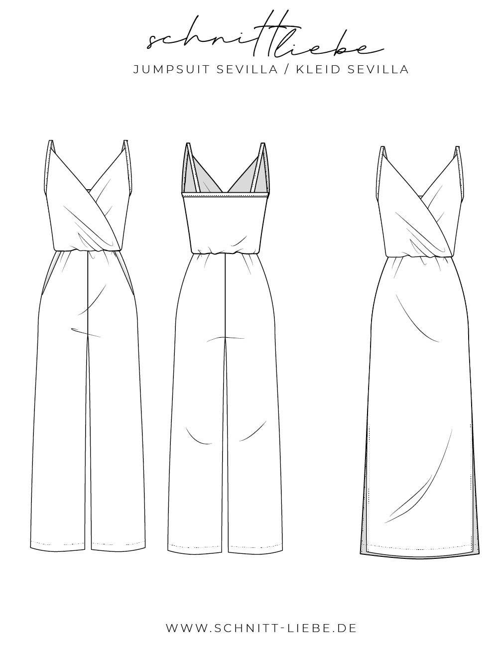 Schnittmuster Jumpsuit & Kleid Sevilla - Schnittliebe #keinekleidungnähen
