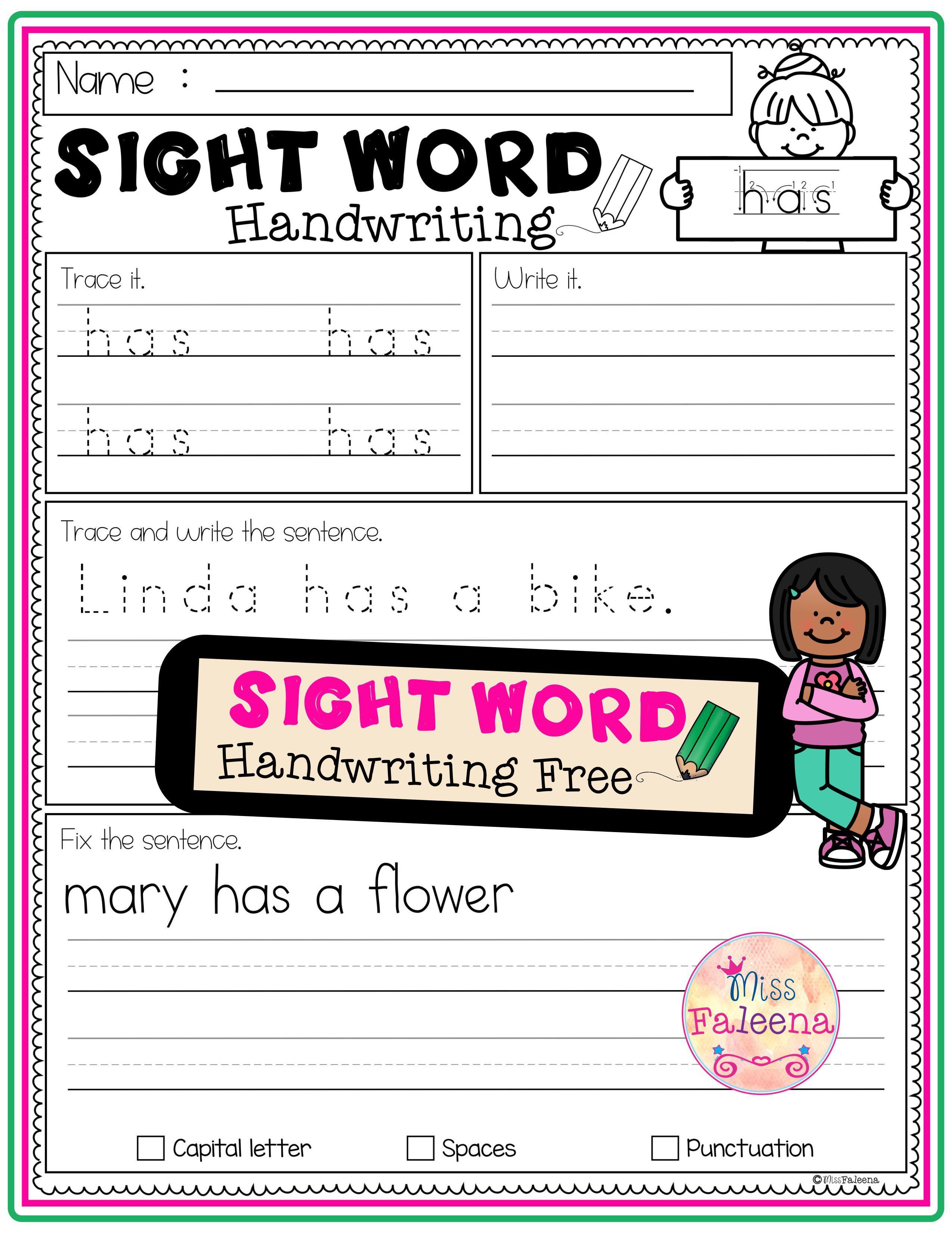 Free Sight Word Handwriting
