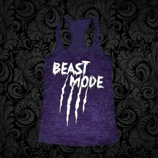"""Women's """"BEAST MODE"""" Purple Burnout Tank"""