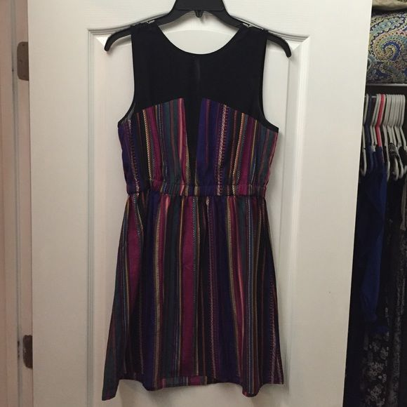Striped party dress Dress has black sheer top and cinched waist. Perfect party dress. NWT! NO TRADES! Urban Outfitters Dresses Mini
