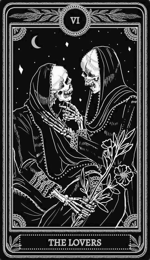 The lovers tarot card skeletons, black and white