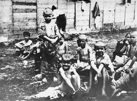 Starved children at the Stara Gradiska camp in Jasenovac.