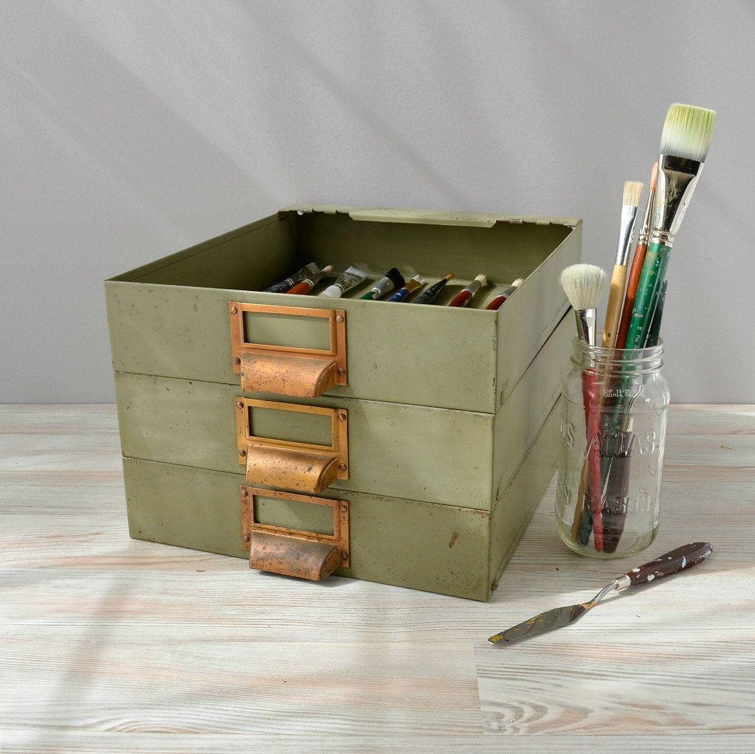 Industrial Metal Storage Bins Vintage Metal File Drawers With Brass Drawer Pulls Set Of 3 Vintage Metal Storage Bins Metal Storage Bins Storage Bins Storage