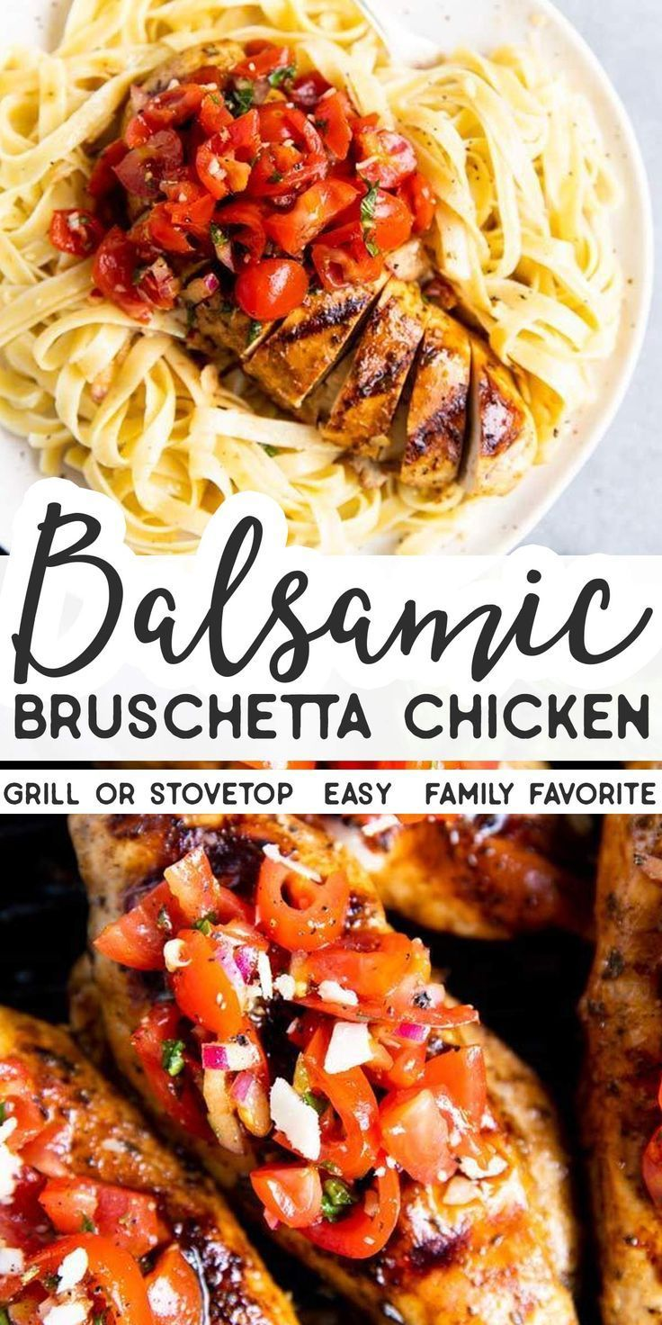 An easy and healthy summer dinner, this Balsamic Bruschetta Chicken can be made on the grill or in the pan. It's quick to pull together and full of fresh flavors! |