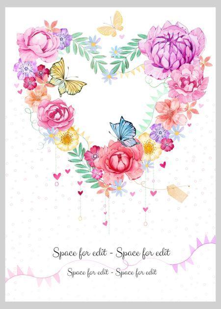 Victoria Nelson Heart Shape Flower Wreath Butterfly