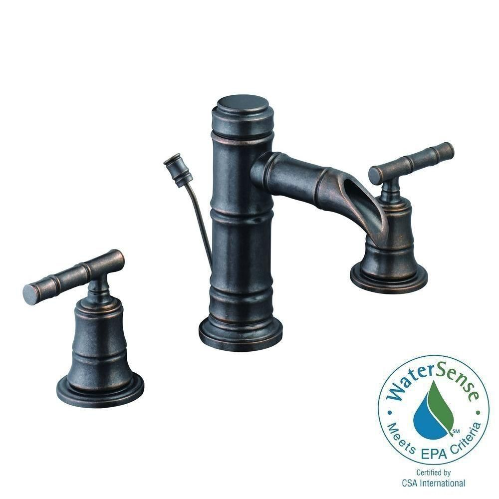 Pegasus Bamboo 8 In Widespread 2 Handle Low Arc Bathroom Faucet