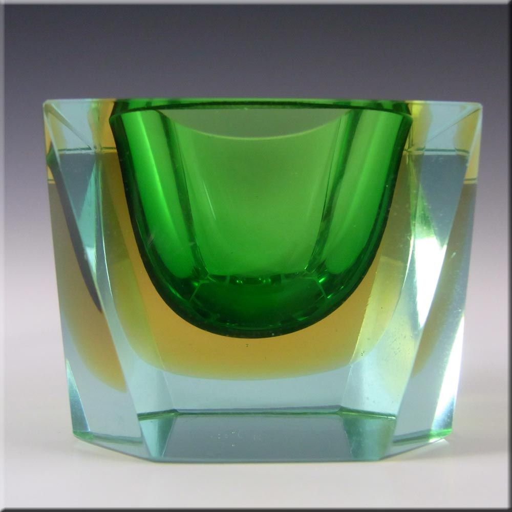 Murano Faceted Green & Amber Sommerso Glass Block Bowl - £90.00
