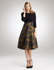 Taffeta Full Skirt Dress in Black Multi by Pepperberry